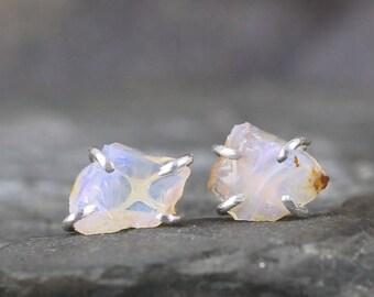 Opal Earrings - Uncut Raw Rough Opal Earring - Sterling Silver Stud Style - Rustic Shape - October Birthstone - Raw Gemstone Earrings