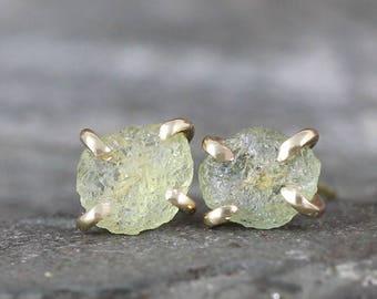Montana Sapphire Earrings - 14K Yellow Gold Rustic Earring - Natural Rough Uncut Sapphires  - Light Yellow Gemstone