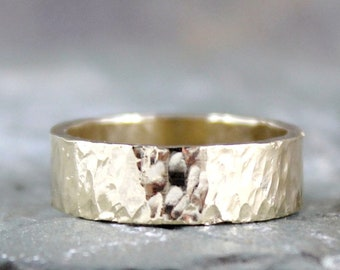 Hammered 14K Yellow Gold Wedding Band - 6mm Wide - Mens or Ladies - Hammered Texture Finish - Classic Wedding Bands - Comittment Rings