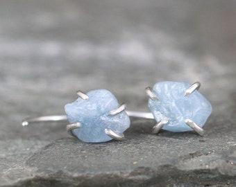 42faf6b9d Huggie Hoop Raw Aquamarine Earrings - Sterling Silver Huggie Earring - Uncut  Rough Natural Blue Aquamarine - March Birthstone Made in Canada