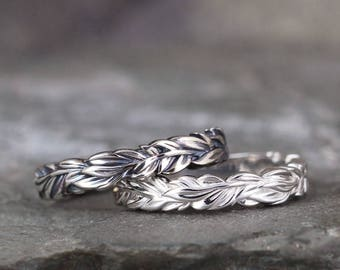 Leaf Stacking Ring - Sterling Silver - Nature Inspired Rings - Stacking Rings - Wedding Band