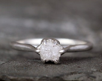 Raw Diamond Engagement Ring - Basket Weave Setting - Sterling Silver - Solitaire Uncut Rough Diamond Rings - Made in Canada