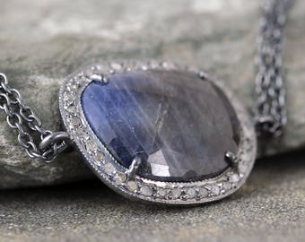 Sapphire and Raw Diamond Necklace - Sterling Silver - Halo Pendant - Rustic Jewellery - Blue Gemstone Necklace - September Birthstone