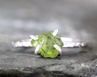 Peridot Sterling Silver Ring - Raw Uncut Rough Peridot - Green Gemstone Ring - August Birthstone Ring - Peridot Stacking Ring