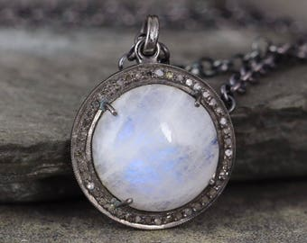 Moonstone and Raw Diamond Necklace - Sterling Silver - Halo Pendant - Rustic Jewellery -  Gemstone Necklace - Boho Chic