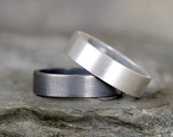 5mm Matte Finish Wedding Band – Sterling Silver – Commitment Rings – Wedding Bands – Unisex Design – Modern –Oxidized Patina or Plain Finish