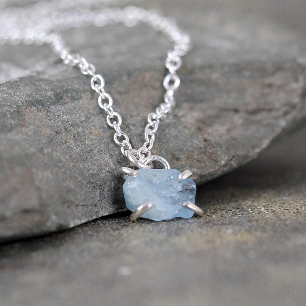 56c0a1694 Aquamarine Necklace Raw Aquamarine Pendant Sterling Silver | Etsy