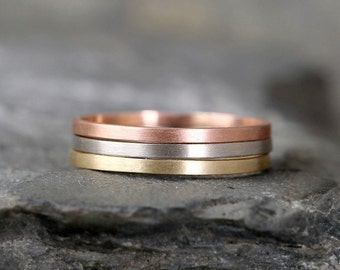 14K Gold Stacking Rings – Yellow White or Rose Gold – Skinny Ring – Matte Wedding Band – Made in Canada