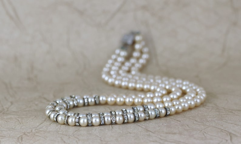 Vintage Pearl and Crystal Beaded Necklace Double Strand- Faux Pearl Necklace Circa 1950/'s Mid Century Bridal Jewellery