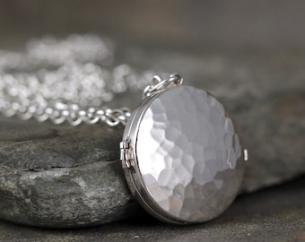 Round Silver Locket Pendant - Sterling Silver - Rustic Hammered Texture - Long Layering Necklace - Personalized Gifts