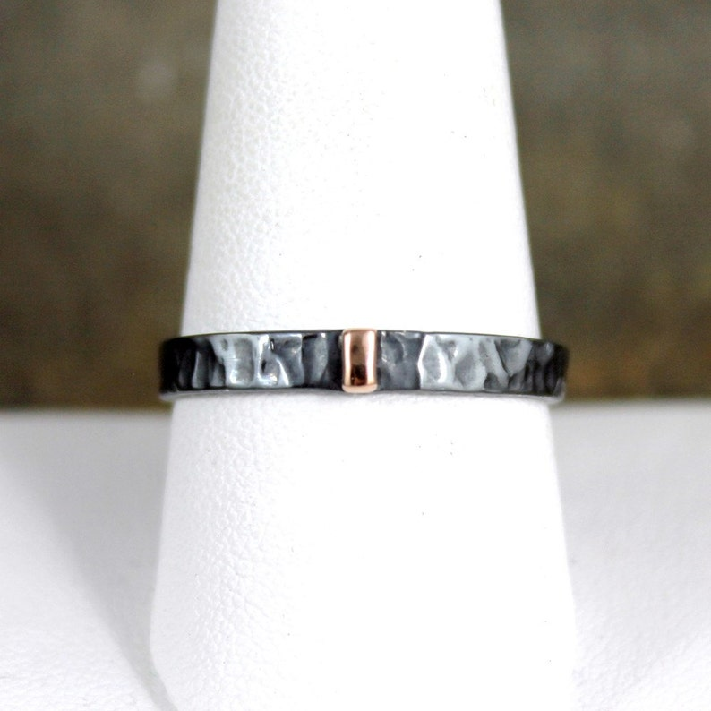 Stacking Ring 3mm Wedding Bands Mixed Metal Men/'s or Ladies Jewellery Flat Pipe Style 14K Rose Gold and Black Sterling Silver Band