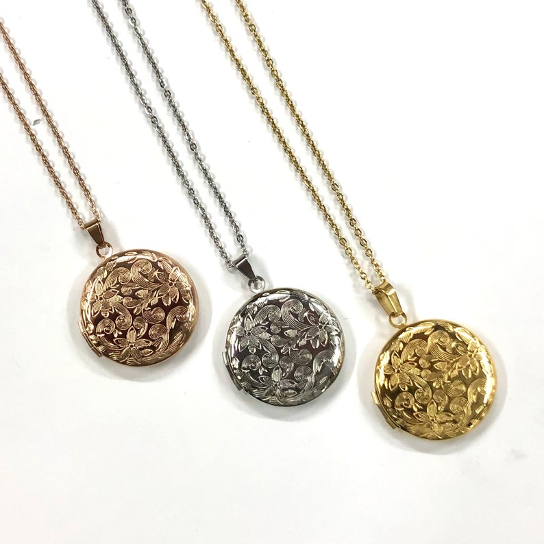Keepsakes Personalized Jewellery Yellow or Silver Necklace and Pendant Available in Rose Personalized Stainless Steel Locket