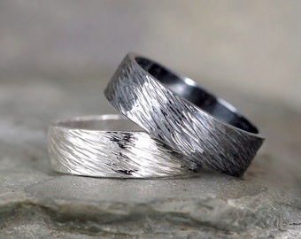6mm Hammered Bark Texture Wedding Band – Sterling Silver – Commitment Rings – Wedding Bands – Unisex Design – Rustic – Tree Branch Finish