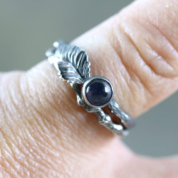 Twig & Leaf Blue Sapphire Engagement Ring Set  LIMITED image 3