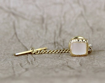 Vintage Tie Tack Pin - Moither of Pearl and Gold Tone Finish - Square Shape - Formal Wear Accessory