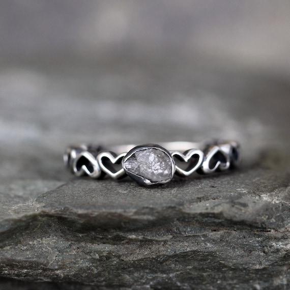 Nieoszlifowany Diament Design Serca Zespół Pierścionek Etsy