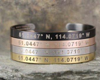 COORDINATES Cuff Bracelet - Rose, Yellow, Steel or Black Stainless Steel - Engraved with your special Place - Geocaching  Swag
