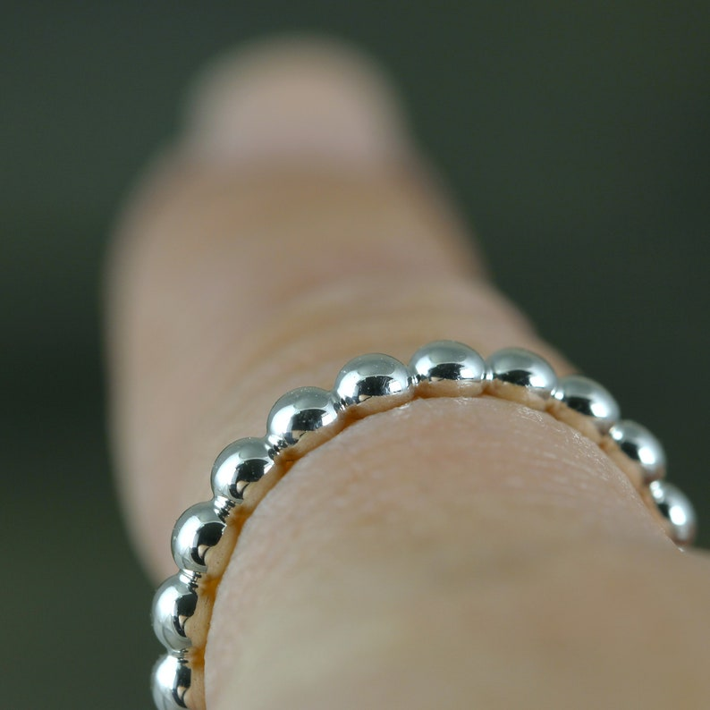 Sterling Silver Stackable Band Bead Ring Commitment Ring Modern Wedding Band Miniature Ball Ring