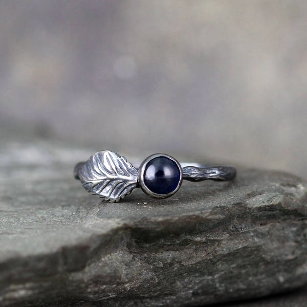 Twig & Leaf Blue Sapphire Engagement Ring Set  LIMITED image 1