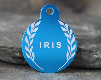 Custom Pet ID Tags - 'Iris' Style - 3 sizes, 9 colors- Laser Engraved with your Personalized Identification