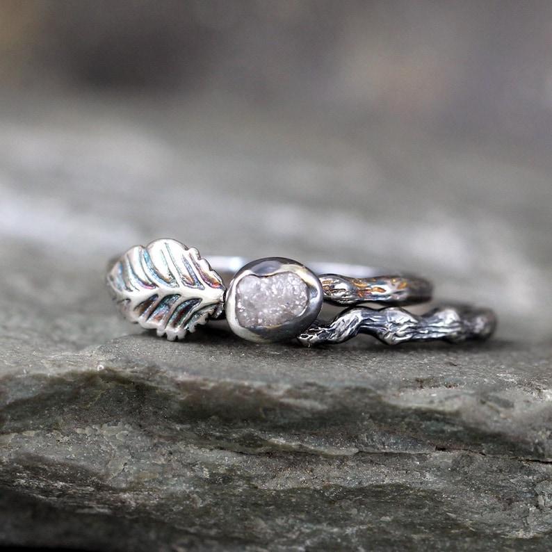 Twig & Leaf Raw Diamond Engagement Ring Set  Nature Inspired image 0