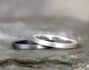 2mm Matte Finish Wedding Band – Sterling Silver – Commitment Rings – Wedding Bands – Unisex Design – Modern –Oxidized Patina or Plain Finish
