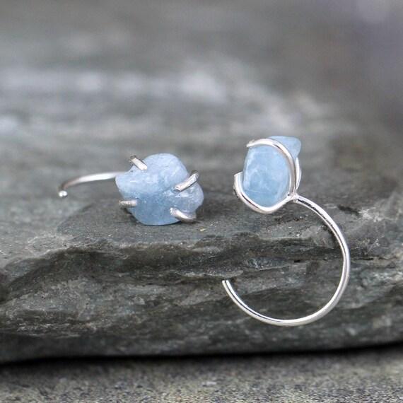 7d0ce2de7 Huggie Hoop Raw Aquamarine Earrings Sterling Silver Huggie | Etsy