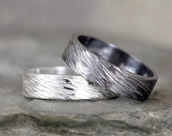 5mm Hammered Bark Texture Wedding Band – Sterling Silver – Commitment Rings – Wedding Bands – Unisex Design – Rustic – Tree Branch Finish