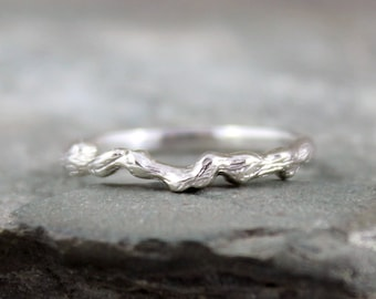 Sterling Silver Twig Ring - Stacking Ring - Wedding Band - Branch Ring - Rustic Nature Inspired Jewellery
