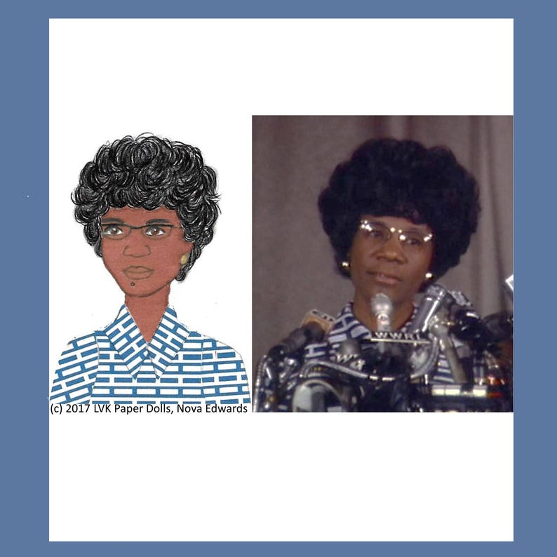 US Politician Shirley Chisholm Paper Doll and Paper Doll image 0