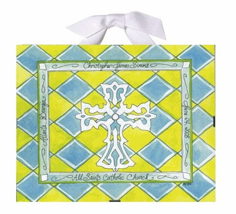 Baptism / Christening Gift  Green Yellow and Blue image 0