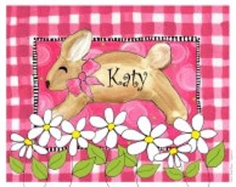 Nursery Art -  Gingham  Rabbit-  Nursery Art Print for Girls