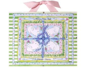 Personalized Baby Gift  - Birth Record - Bunny Rabbit Nursery