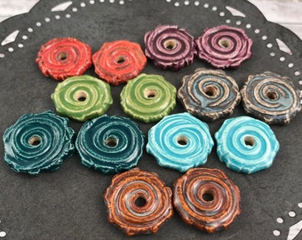 Handmade Ceramic Disc Beads - Earring Sized - Spiral Disc Bead - Craft Supplies - Made To Order - Marsha Neal Studio - Porcelain Clay