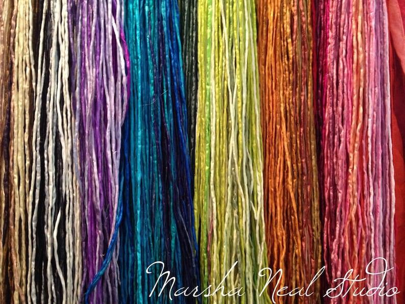 Hand Dyed Silk Ribbon  Silk Cord  DIY Craft  Jewelry image 1