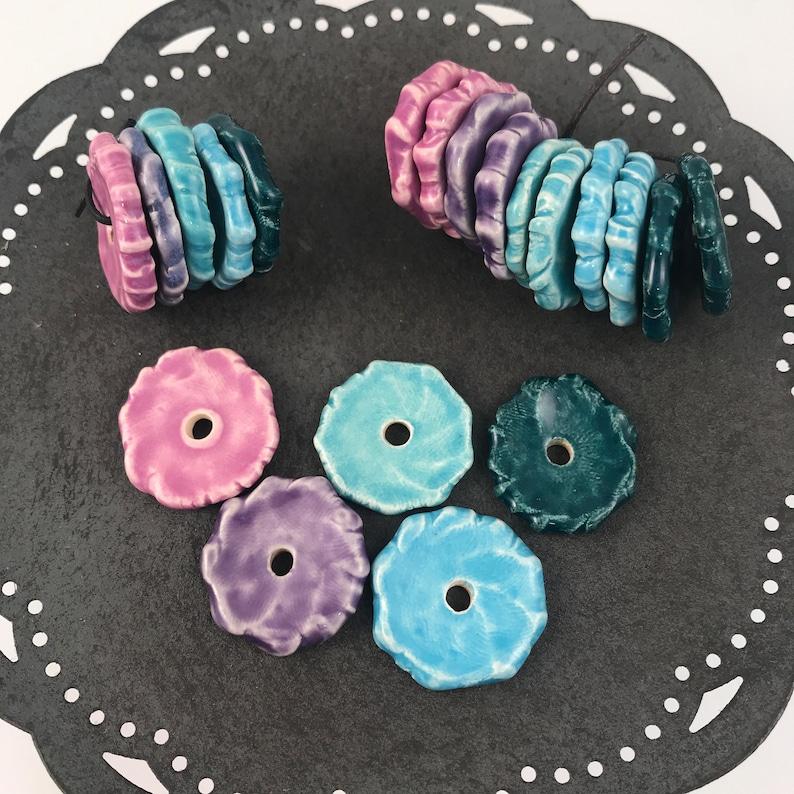 Craft Supplies  5 Disc Bead Sets Handmade Beads  Ceramic image 1