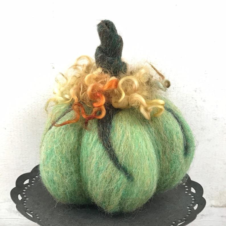 Pumpkin  Needle Felted Pumpkin  Twisted Stem Pumpkin  image 1