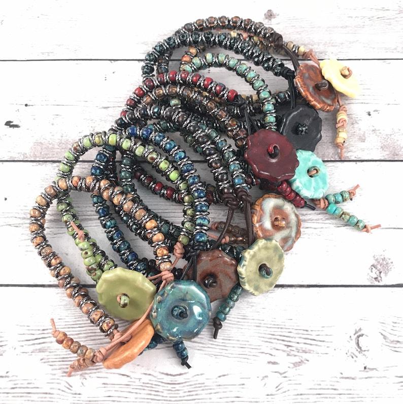 DIY Bracelet Kit  Picasso Round Bead Zig Zag Bracelet Kit  image 0