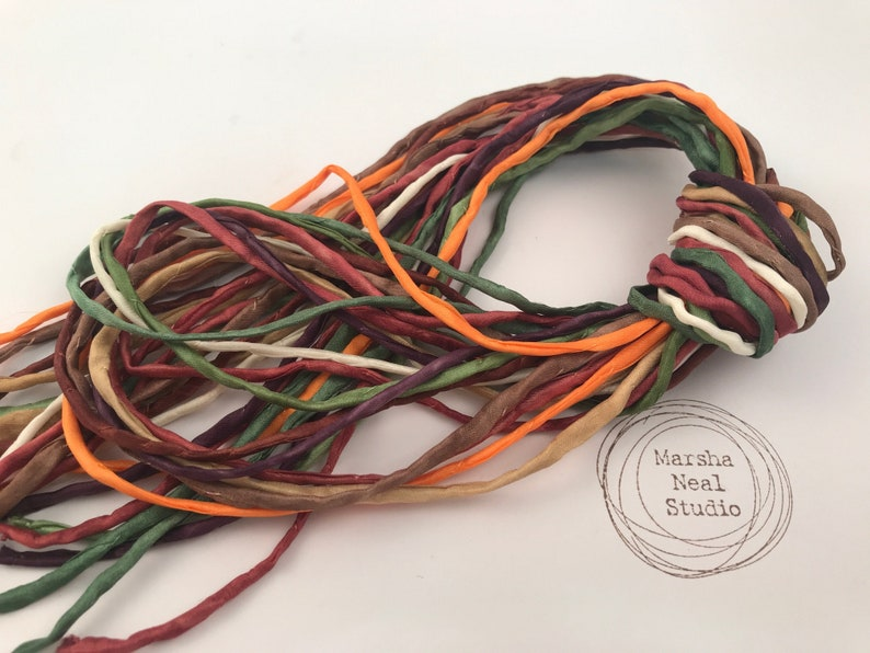 Hand Painted Silk Cord  Hand Dyed Silk  Silk Ribbon  image 1