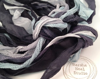 Silk Ribbon - Hand Painted Silk - Silky Ribbon - Fairy Ribbon - Jewelry Supplies - Wrap Bracelet - Craft Supplies - Storm Clouds Palette