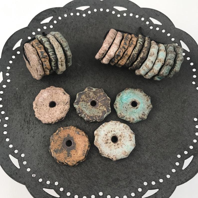 Craft Supplies  5 Disc Bead Sets Handmade Beads  Ceramic image 0