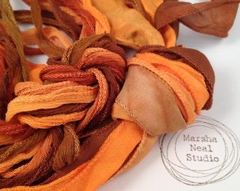 Hand Dyed Silk Ribbon - Silky Ribbon - Fairy Ribbon - Jewelry Supplies - Wrap Bracelet - Craft Supplies - Copper Pumpkin Color Palette