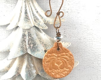 SALE Handmade Christmas Ornament - Vintage Themed Ornament - Ceramic Ornament - Unique Ornament - Holiday Gift Idea