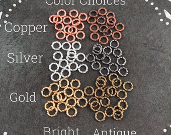 6mm Twisted Open Jump Ring - 100 quantity listing - Brass Base Metal with Copper or Silver or Gold Metal color finishes - Marsha Neal Studio