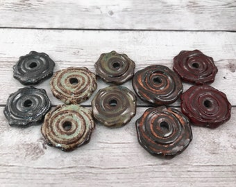 Rustic Beads - Ceramic Beads - One Pair - Spiral Design - Line Drawings - Earring Sized Pairs - Marsha Neal Studio - Handmade Beads