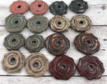 Handmade Ceramic Disc Beads - Earring Sized - Spiral Disc Bead - Craft Supplies - Made To Order - Marsha Neal Studio - Stoneware Clay