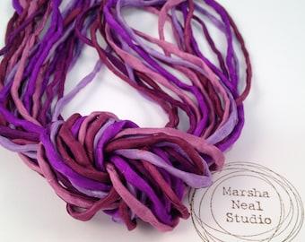 Hand Painted Silk Cord - Silk Ribbon - DIY Crafts - Jewelry Supplies - Wrap Bracelet - Craft Supplies - 2mm Silk Cord Strands Chloe's Purple
