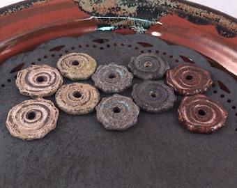 Rustic Beads - Ceramic Beads - One Pair - Spiral Design - Line Drawings - Earring Sized Pairs - Marsha Neal Studio - Handmade Beads 6A