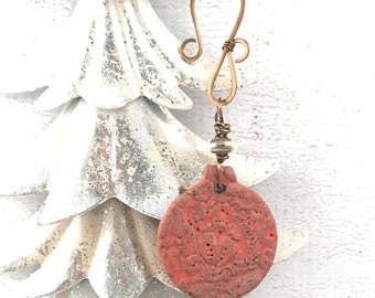 SALE Handmade Christmas Rustic Ornament - Vintage Themed Ornament - Ceramic Ornament - Unique Ornament - Holiday Gift Idea
