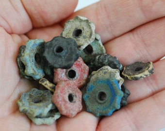 Handmade Ceramic Beads - Disc Beads - Flat Coin Beads - Chocolate Stoneware Clay - Rustic Glazes - Made to Order - Marsha Neal Studio